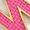 hot pink felt balls freestanding letter N gold pom poms decor personalised gift Abu Dhabi Dubai Al Ain Gateway Art Sales LLC