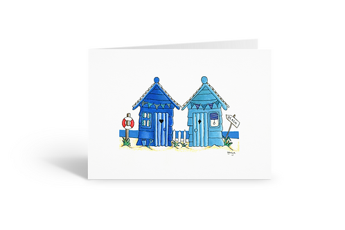 blue cyan beach huts greeting card birthday card thank you card Gateway Art Sales Abu Dhabi Dubai UAE