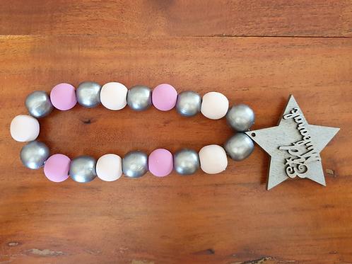 Eid Wood Bead Loop Garland (Pinks & Silver)