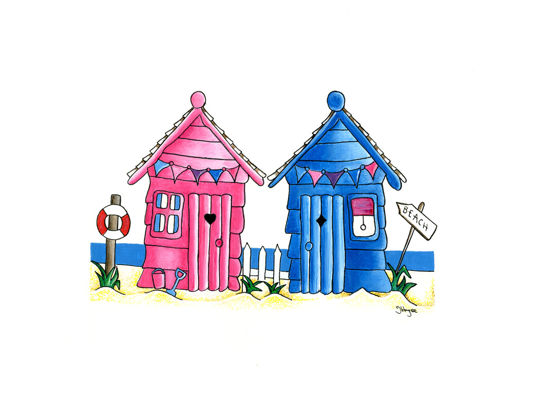 Beach Huts in Pink & Blue