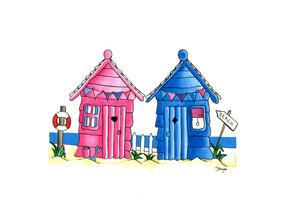 Beach Huts in Pink & Blue