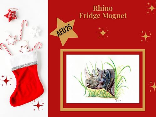 Rhino fridge magnet stocking filler Christmas 2020 animal wildlife Gateway Art Sales Abu Dhabi Dubai UAE acrylic