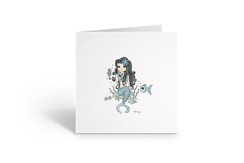 Turquoise Mermaid greeting card square birthday Gateway Art Sales Abu Dhabi Dubai UAE