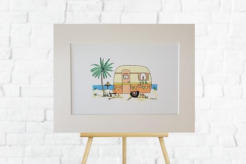 Orange Retro Caravan giclee print mounted picture artwork insitu easel Gateway Art Sales Abu Dhabi Dubai UAE
