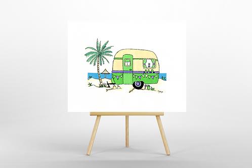 Green Retro Caravan ORIGINAL PAINTING