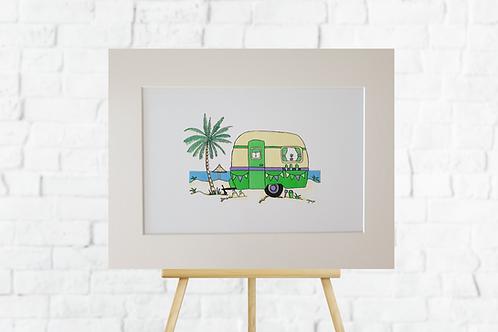 Green Caravan giclee print mount artwork picture Gateway Art Sales Abu Dhabi Dubai UAE