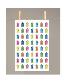 Beach Huts Tea Towel 100 per cent cotton colourful made in UK for sale online in Abu Dhabi Al Ain Dubai UAE by Gateway Art Sales