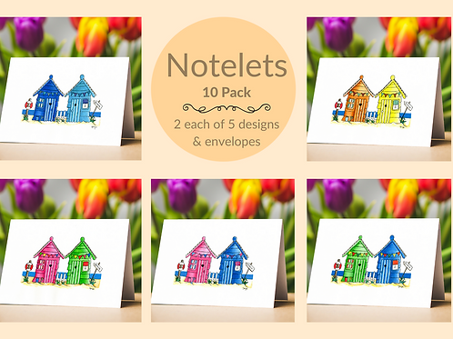 notelets gift pack set beach huts envelopes writing paper notes messages Gateway Art Sales Abu Dhabi Dubai UAE Al Ain houses