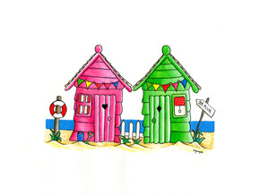Beach Huts in Pink & Green