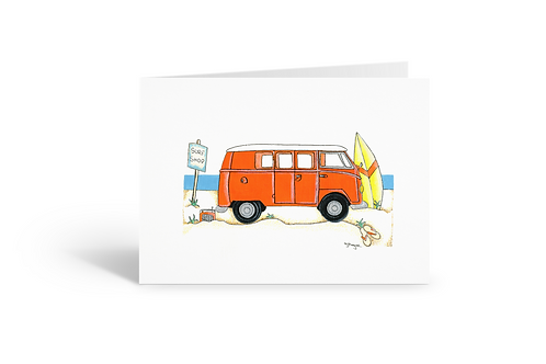 Orange camper van greeting card birthday card thank you card Gateway Art Sales Abu Dhabi Dubai UAE