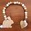 Easter bunny wood bead garland pom pom tail hand painted peach decor Abu Dhabi Al Ain Dubai Gateway Art Sales LLC