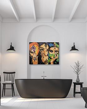 Arabic ladies original painting canvas Arabic abstract art modern Arabic Middle Eastern culture for sale online in Abu Dhabi Al Ain Dubai UAE Gateway Art Sales LLC