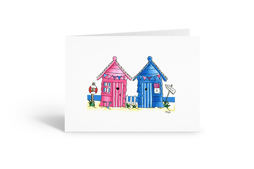 pink blue beach hut greeting card beach house birthday card thank you card Gateway Art Sales Abu Dhabi Dubai UAE