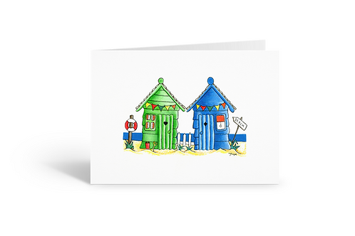 Green Blue Beach Huts greeting card beach house birthday card thank you card Gateway Art Sales Abu Dhabi Dubai UAE