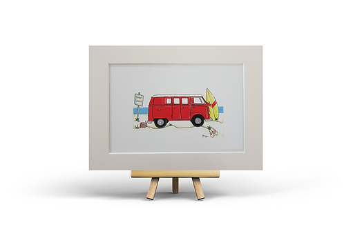 Red Camper Van MOUNTED PRINT (A4)