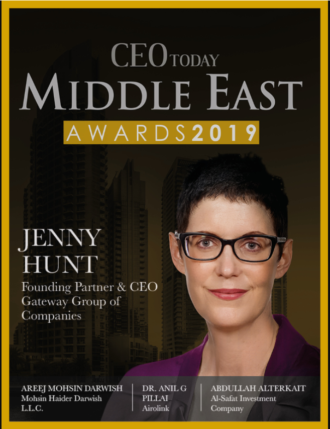 Jenny Hunt magazine cover CEO Today Founding Partner & CEO Gateway Group Of Companies Middle East Awards