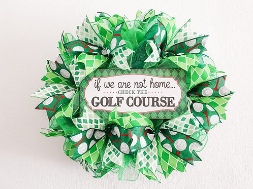 Golf course wreath green decor If we are not home check the golf course golfer gift Gateway Art Sales Abu Dhabi Dubai UAE