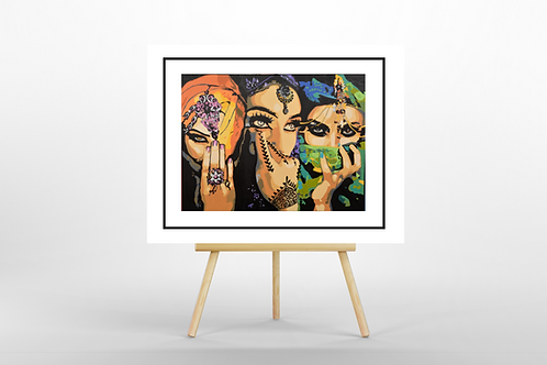 Arabic Ladies giclee Limited Edition print insitu easel Gateway Art Sales Abu Dhabi Dubai UAE