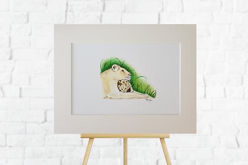 lioness giclee print mounted picture artwork insitu easel Gateway Art Sales Abu Dhabi Dubai UAE