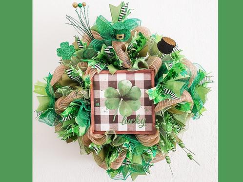 Lucky St Patrick's Day wreath decor for Sale clover shamrock gift Abu Dhabi Dubai Al Ain Gateway Art Sales