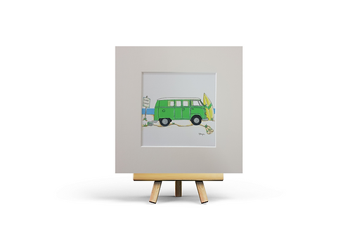 Green Camper Van MOUNTED PRINT (Square)