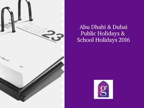 Abu Dhabi Public Holidays & School Holidays 2016