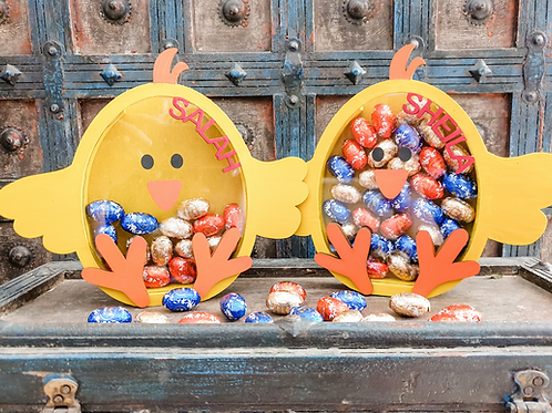 Easter Chick Chocolate Holders Personalized gift kids party favours favors gifts Abu Dhabi Al Ain Dubai Gateway Art Sales LLC