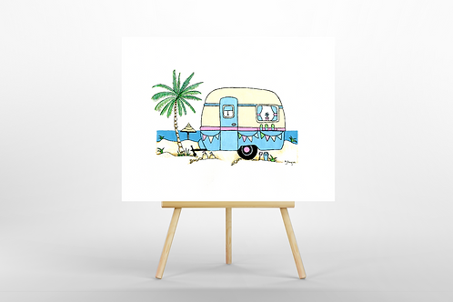Blue Retro Caravan ORIGINAL PAINTING