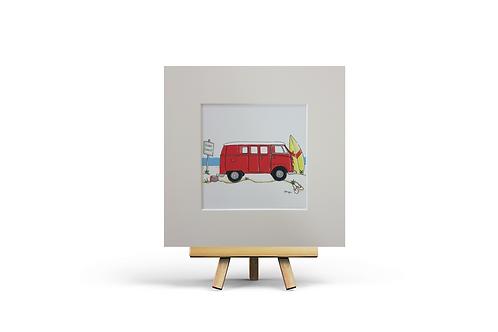 Red Camper Van MOUNTED PRINT (Square)
