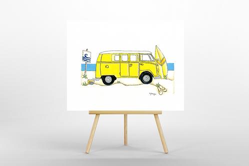 Yellow Camper Van ORIGINAL PAINTING