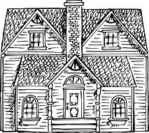 Black and white drawing of a dollhouse.