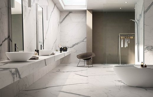 Calacata Italian White Polished Marble Tile | Natural Stone