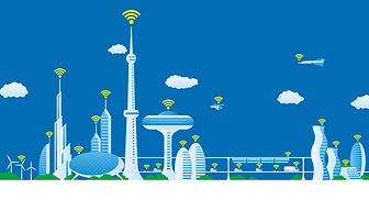 Modern-city-futuristic-buildings-and-tra