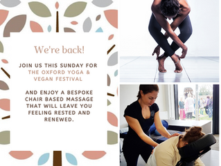 Onsite massage for Oxford's Yoga and Vegan Festival 2020!