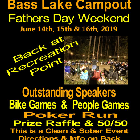 June 14th-16th, 2019 - 39th Annual Survivors MC Bass Lake Campout