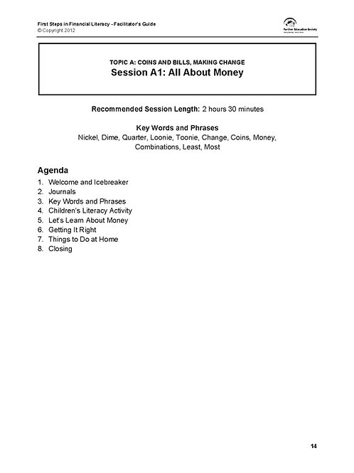 First Steps in Financial Literacy - Session A1 Digital