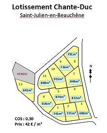 Plan du lotissement Chante-Duc