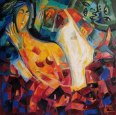 Embodiment of a dream and its interpretation, Oil on Canvas, 80/80 cm., 31/31 in.