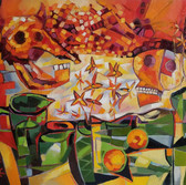 Still life with inner badness, Oil on Canvas, 60/70 cm, 23/27 in.