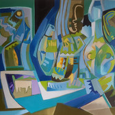 The therapist, the patient and the elephant in the room Oil on canvas, 68/63 cm., 27/25 in.
