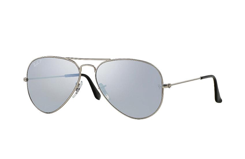 Ray-Ban RB3025 銀色框銀色水銀偏光鏡片 Aviator Mirror Polarized 太陽眼鏡