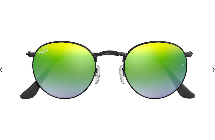Ray-Ban RB3447 黑框綠色漸變閃光鏡片 ROUND FLASH LENSES GRADIENT 太陽眼鏡
