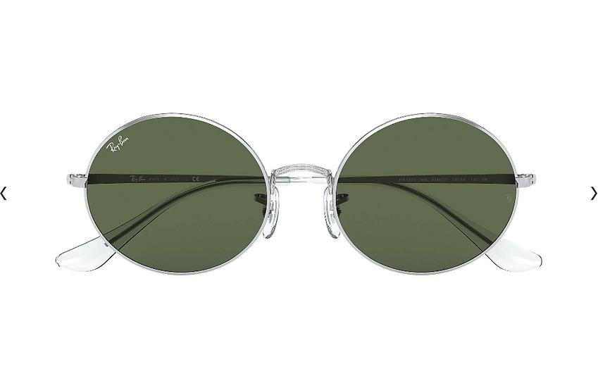 Ray-Ban RB1970 銀框墨綠色鏡片 OVAL 1970 太陽眼鏡