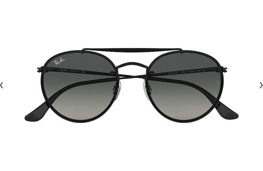 Ray-Ban RB3614N 黑框灰色漸變鏡片 BLAZE ROUND DOUBLE BRIDGE 太陽眼鏡
