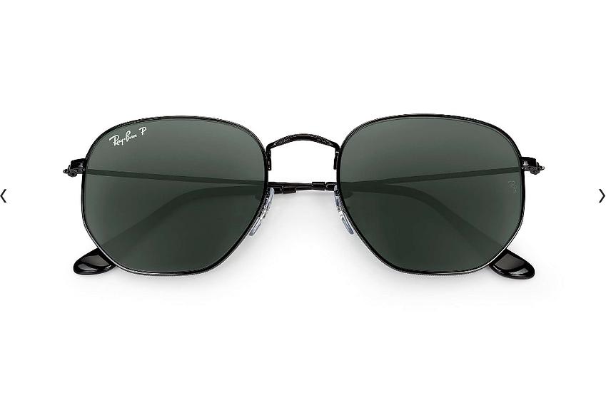 Ray-Ban RB3548N 黑框墨綠色偏光鏡片 Hexagonal Flat Lenses 太陽眼鏡