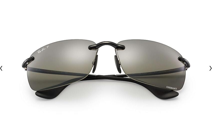 Ray-Ban RB4255 黑框銀色水銀CHROMANCE偏光鏡片太陽眼鏡