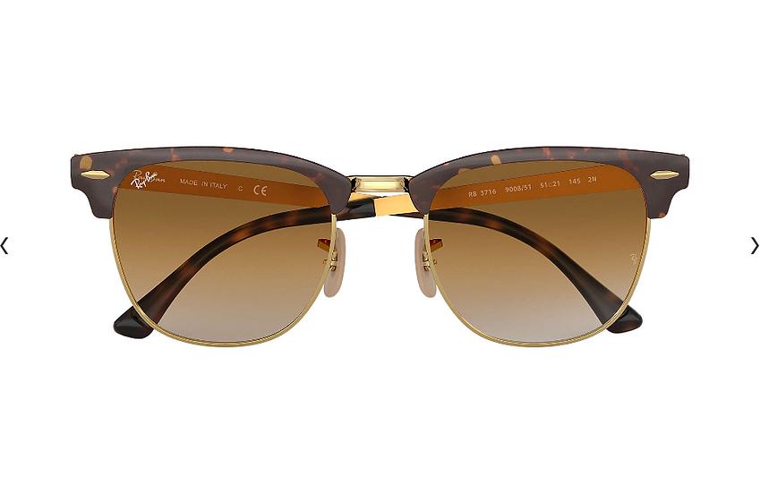 Ray-Ban RB3716 玳瑁啡色框淺啡色漸變鏡片 CLUBMASTER METAL 太陽眼鏡