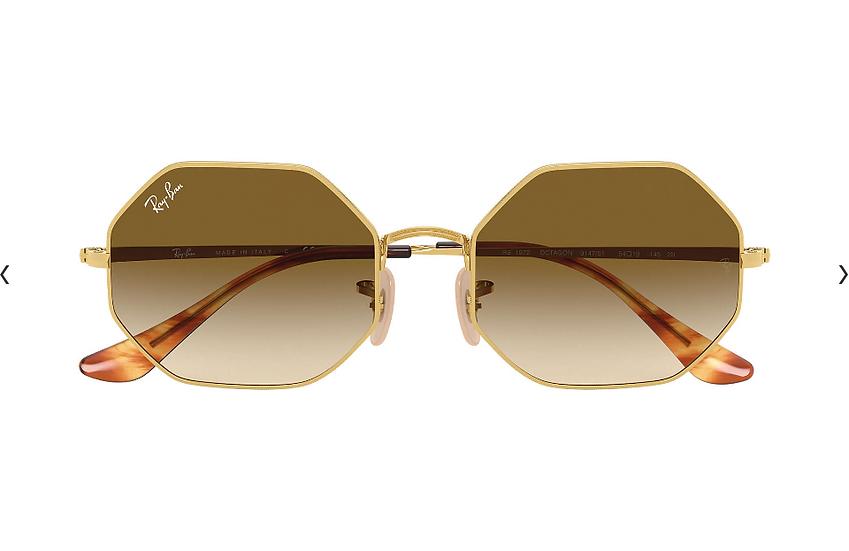 Ray-Ban RB1972 金框淺啡色漸變鏡片 OCTAGON 1972 太陽眼鏡