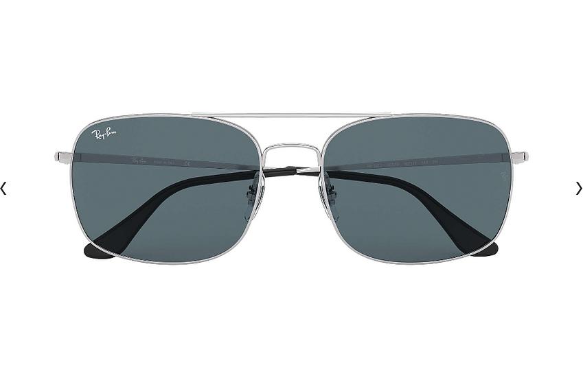 Ray-Ban RB3611 銀色框藍色鏡片 太陽眼鏡