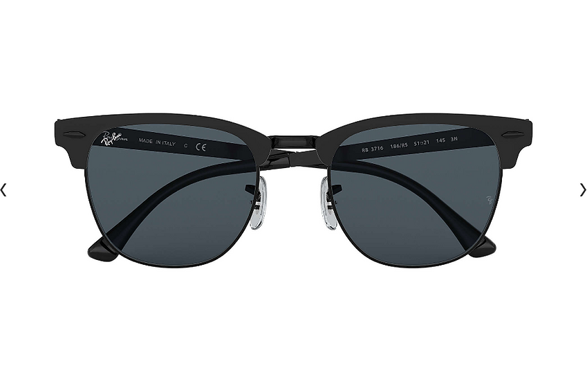 Ray-Ban RB3716 啞黑框藍色鏡片 CLUBMASTER METAL 太陽眼鏡